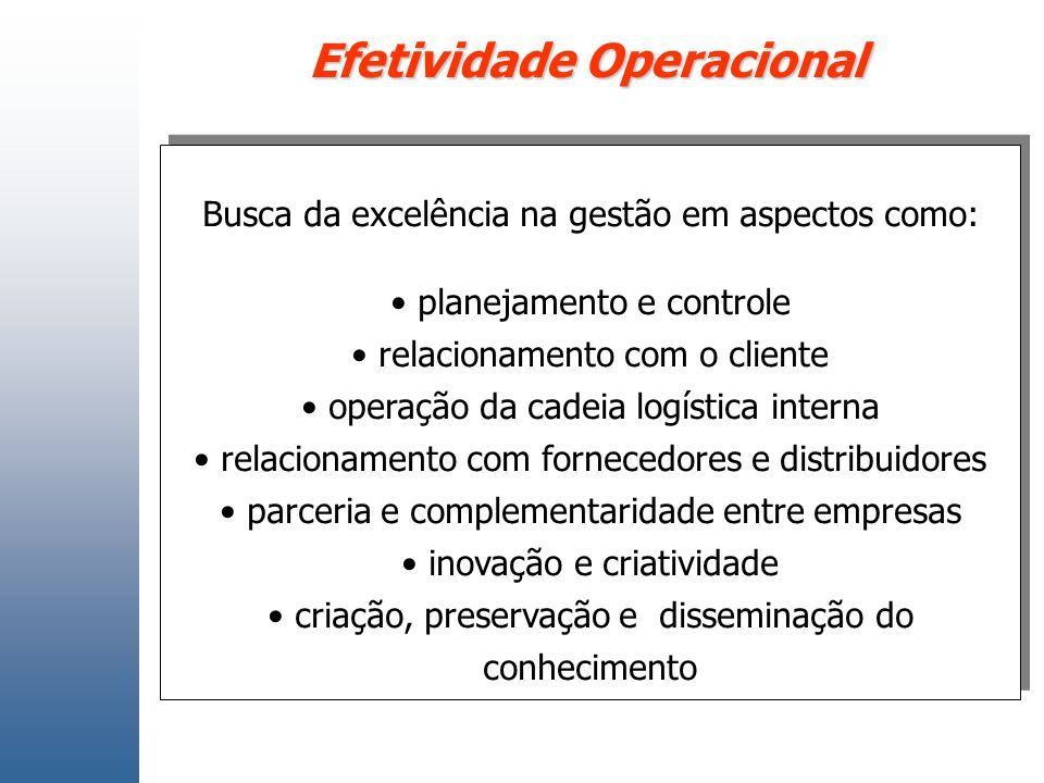 Efetividade Operacional Busca da excelência na gestão em aspectos como: planejamento e controle relacionamento com o cliente operação da cadeia logíst