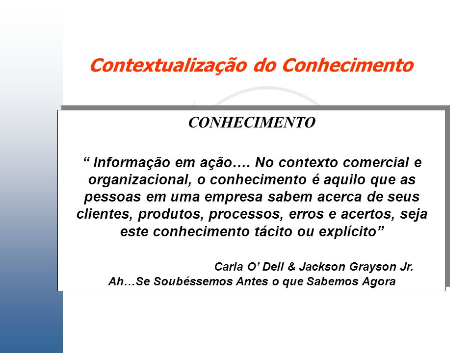 Contextualização do Conhecimento CONHECIMENTO Informação em ação…. No contexto comercial e organizacional, o conhecimento é aquilo que as pessoas em u