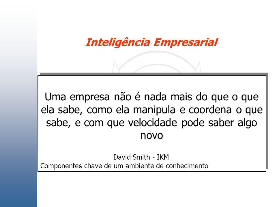 Inteligência Empresarial Uma empresa não é nada mais do que o que ela sabe, como ela manipula e coordena o que sabe, e com que velocidade pode saber a