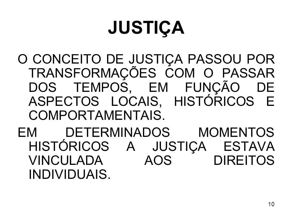 10 JUSTIÇA O CONCEITO DE JUSTIÇA PASSOU POR TRANSFORMAÇÕES COM O PASSAR DOS TEMPOS, EM FUNÇÃO DE ASPECTOS LOCAIS, HISTÓRICOS E COMPORTAMENTAIS. EM DET