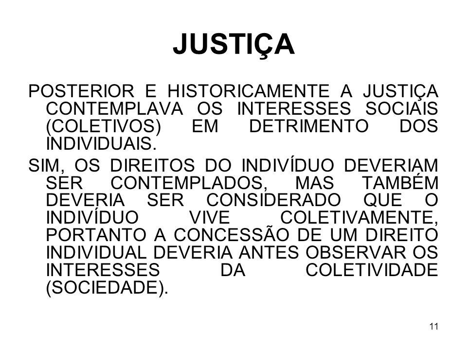 11 JUSTIÇA POSTERIOR E HISTORICAMENTE A JUSTIÇA CONTEMPLAVA OS INTERESSES SOCIAIS (COLETIVOS) EM DETRIMENTO DOS INDIVIDUAIS. SIM, OS DIREITOS DO INDIV