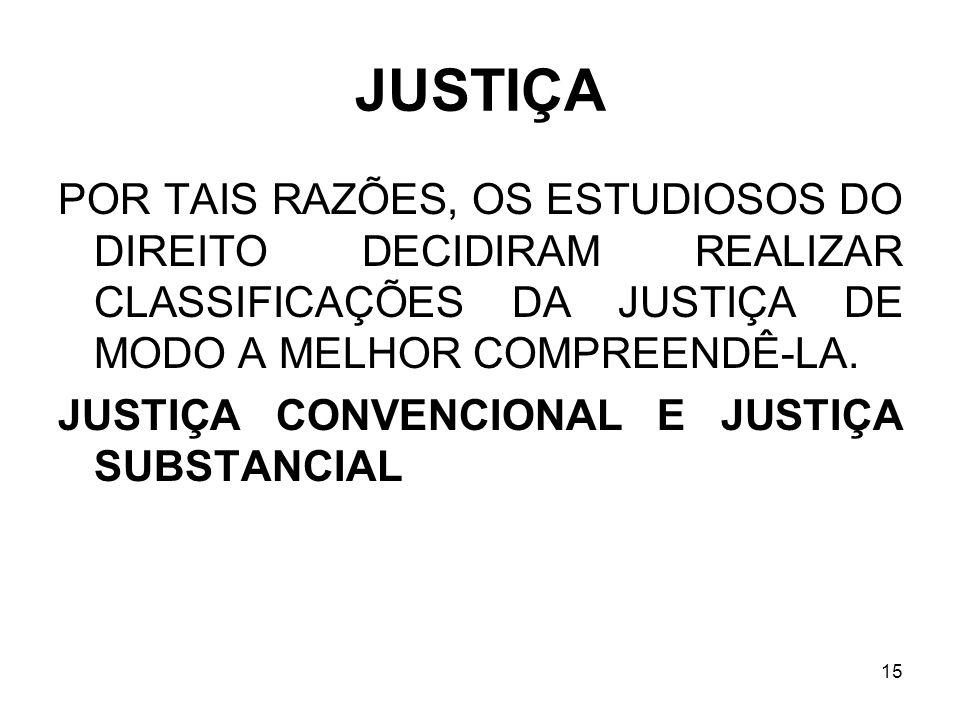 15 JUSTIÇA POR TAIS RAZÕES, OS ESTUDIOSOS DO DIREITO DECIDIRAM REALIZAR CLASSIFICAÇÕES DA JUSTIÇA DE MODO A MELHOR COMPREENDÊ-LA. JUSTIÇA CONVENCIONAL