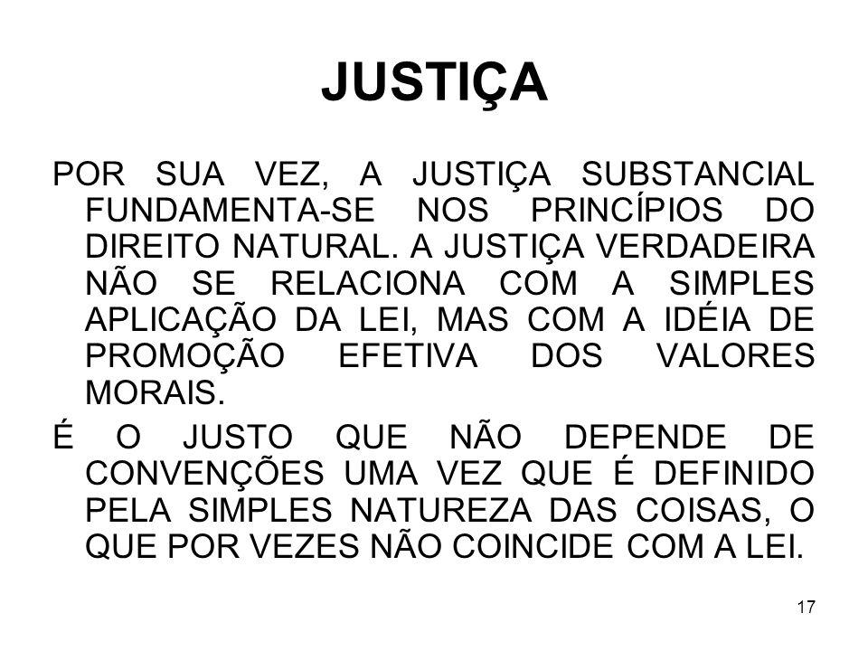 17 JUSTIÇA POR SUA VEZ, A JUSTIÇA SUBSTANCIAL FUNDAMENTA-SE NOS PRINCÍPIOS DO DIREITO NATURAL. A JUSTIÇA VERDADEIRA NÃO SE RELACIONA COM A SIMPLES APL