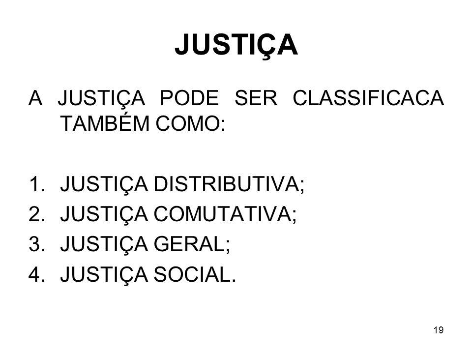19 JUSTIÇA A JUSTIÇA PODE SER CLASSIFICACA TAMBÉM COMO: 1.JUSTIÇA DISTRIBUTIVA; 2.JUSTIÇA COMUTATIVA; 3.JUSTIÇA GERAL; 4.JUSTIÇA SOCIAL.