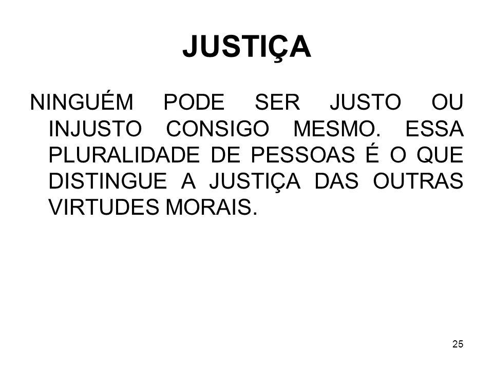 25 JUSTIÇA NINGUÉM PODE SER JUSTO OU INJUSTO CONSIGO MESMO. ESSA PLURALIDADE DE PESSOAS É O QUE DISTINGUE A JUSTIÇA DAS OUTRAS VIRTUDES MORAIS.