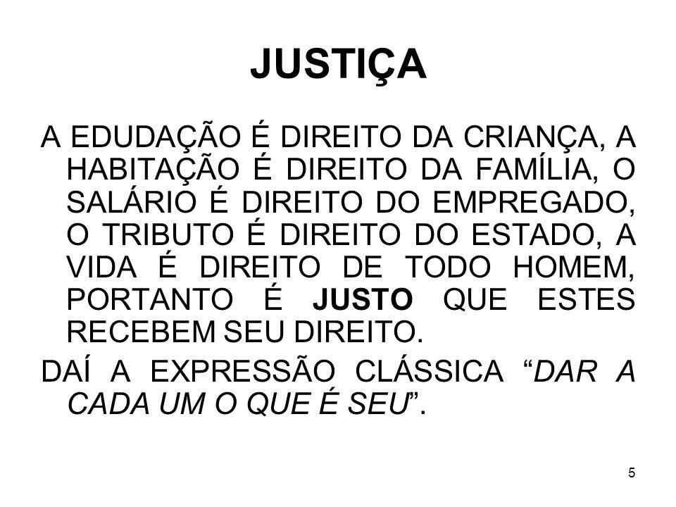 5 JUSTIÇA A EDUDAÇÃO É DIREITO DA CRIANÇA, A HABITAÇÃO É DIREITO DA FAMÍLIA, O SALÁRIO É DIREITO DO EMPREGADO, O TRIBUTO É DIREITO DO ESTADO, A VIDA É