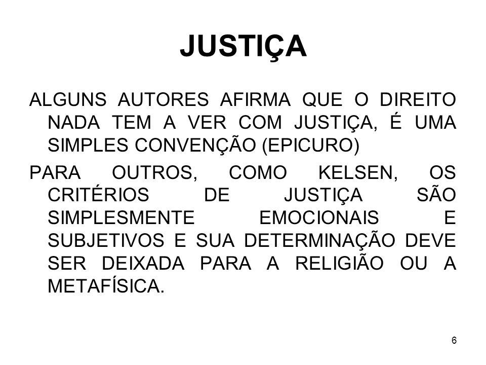 6 JUSTIÇA ALGUNS AUTORES AFIRMA QUE O DIREITO NADA TEM A VER COM JUSTIÇA, É UMA SIMPLES CONVENÇÃO (EPICURO) PARA OUTROS, COMO KELSEN, OS CRITÉRIOS DE