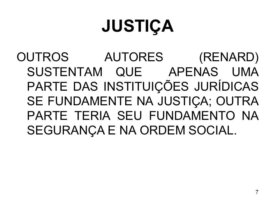 7 JUSTIÇA OUTROS AUTORES (RENARD) SUSTENTAM QUE APENAS UMA PARTE DAS INSTITUIÇÕES JURÍDICAS SE FUNDAMENTE NA JUSTIÇA; OUTRA PARTE TERIA SEU FUNDAMENTO