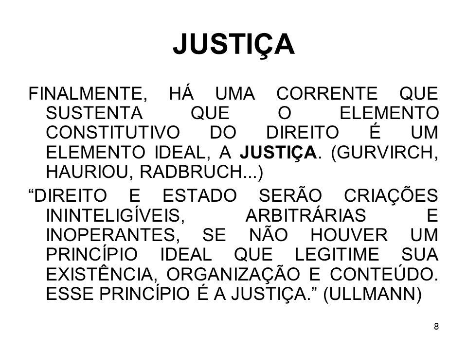 8 JUSTIÇA FINALMENTE, HÁ UMA CORRENTE QUE SUSTENTA QUE O ELEMENTO CONSTITUTIVO DO DIREITO É UM ELEMENTO IDEAL, A JUSTIÇA. (GURVIRCH, HAURIOU, RADBRUCH