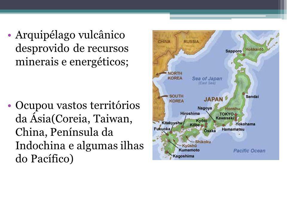 Arquipélago vulcânico desprovido de recursos minerais e energéticos; Ocupou vastos territórios da Ásia(Coreia, Taiwan, China, Península da Indochina e algumas ilhas do Pacífico)