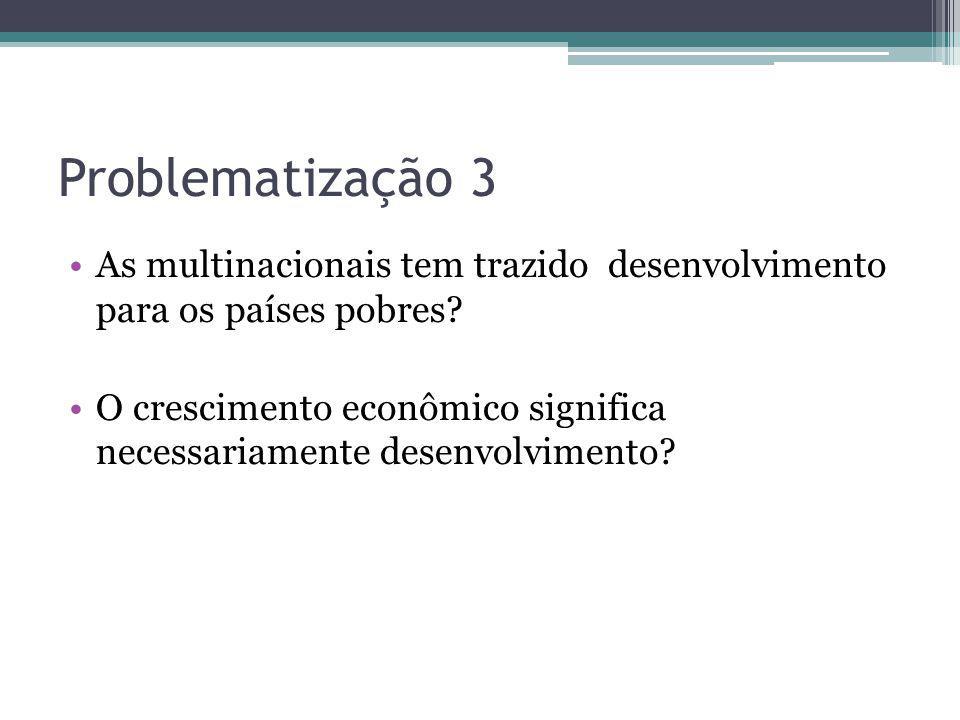 Problematização 3 As multinacionais tem trazido desenvolvimento para os países pobres? O crescimento econômico significa necessariamente desenvolvimen