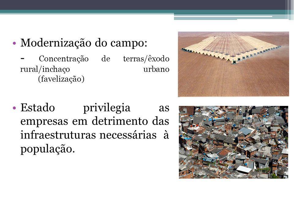 Modernização do campo: - Concentração de terras/êxodo rural/inchaço urbano (favelização) Estado privilegia as empresas em detrimento das infraestruturas necessárias à população.