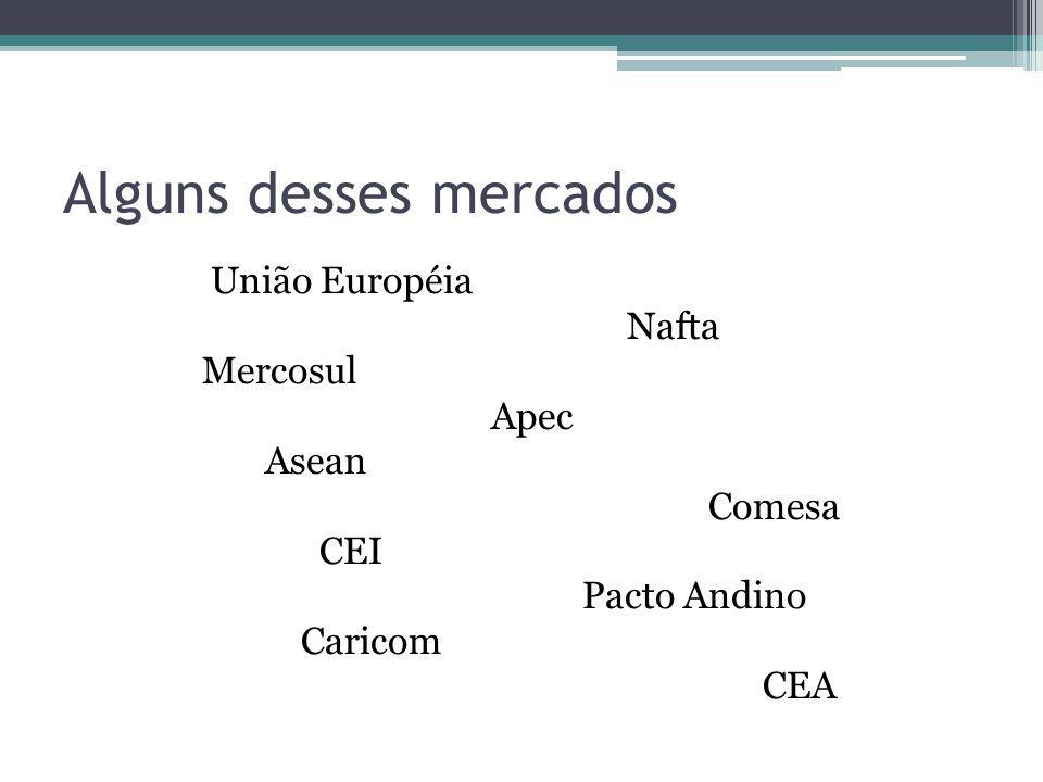Alguns desses mercados União Européia Nafta Mercosul Apec Asean Comesa CEI Pacto Andino Caricom CEA