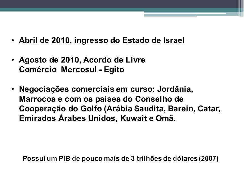Possui um PIB de pouco mais de 3 trilhões de dólares (2007) Abril de 2010, ingresso do Estado de Israel Agosto de 2010, Acordo de Livre Comércio Mercosul - Egito Negociações comerciais em curso: Jordânia, Marrocos e com os países do Conselho de Cooperação do Golfo (Arábia Saudita, Barein, Catar, Emirados Árabes Unidos, Kuwait e Omã.