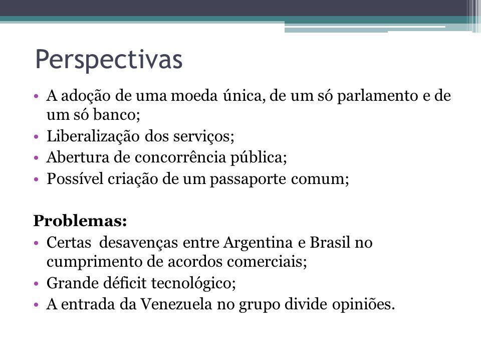 Perspectivas A adoção de uma moeda única, de um só parlamento e de um só banco; Liberalização dos serviços; Abertura de concorrência pública; Possível