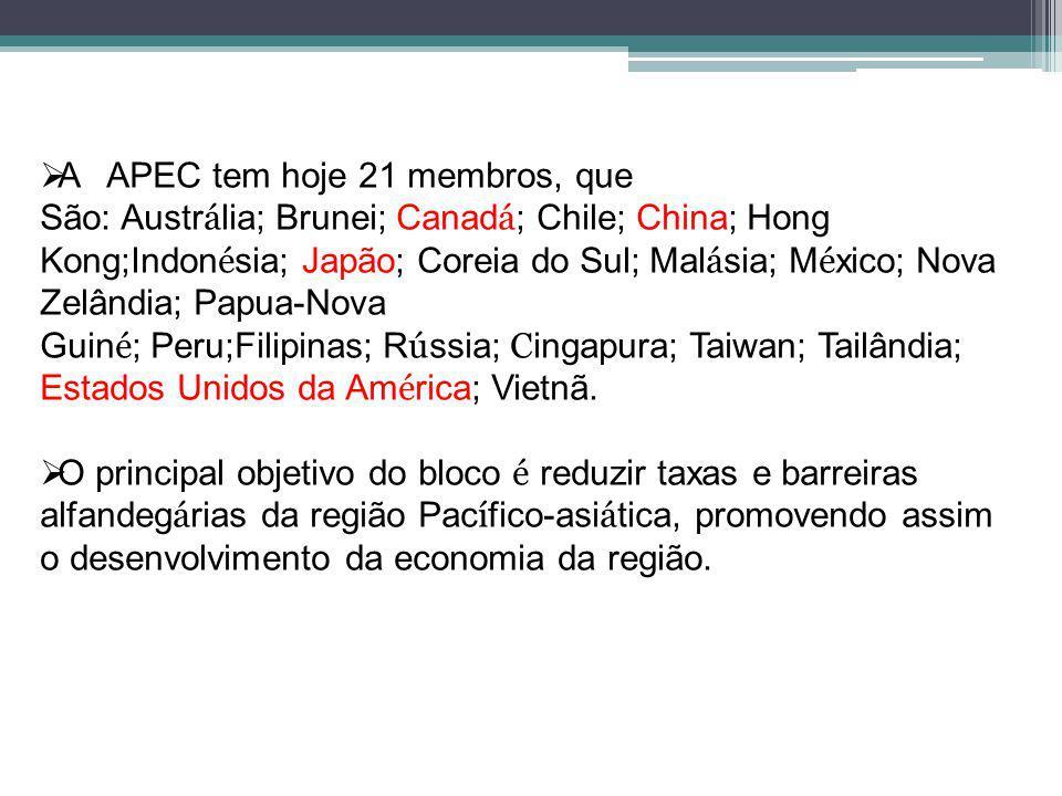A APEC tem hoje 21 membros, que São: Austr á lia; Brunei; Canad á ; Chile; China; Hong Kong;Indon é sia; Japão; Coreia do Sul; Mal á sia; M é xico; Nova Zelândia; Papua-Nova Guin é ; Peru;Filipinas; R ú ssia; C ingapura; Taiwan; Tailândia; Estados Unidos da Am é rica; Vietnã.