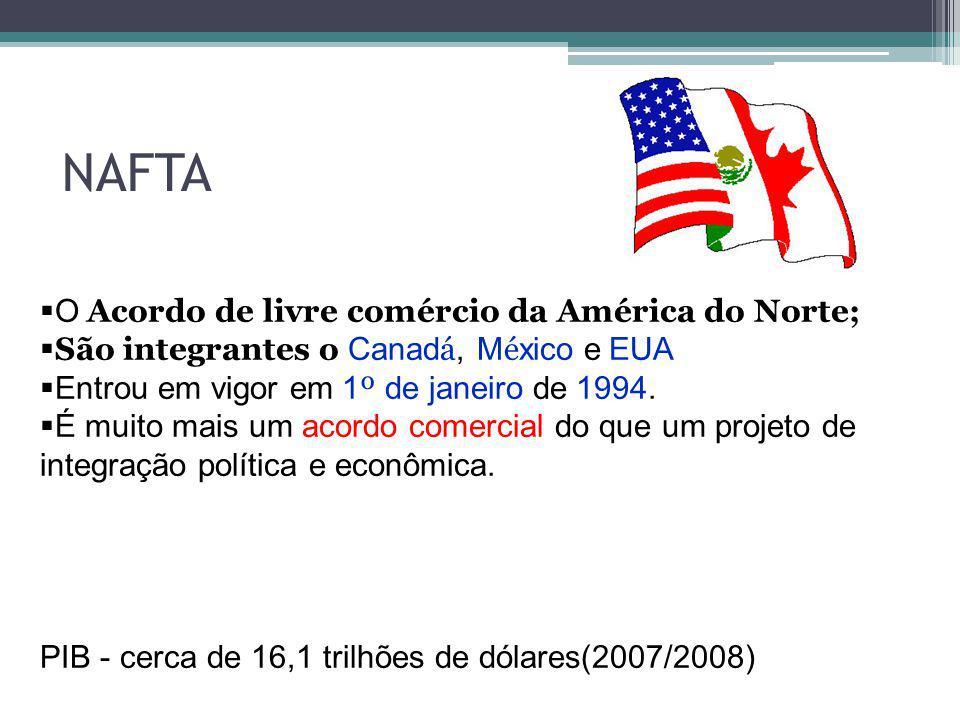 O Acordo de livre comércio da América do Norte; São integrantes o Canad á, M é xico e EUA Entrou em vigor em 1 º de janeiro de 1994. É muito mais um a