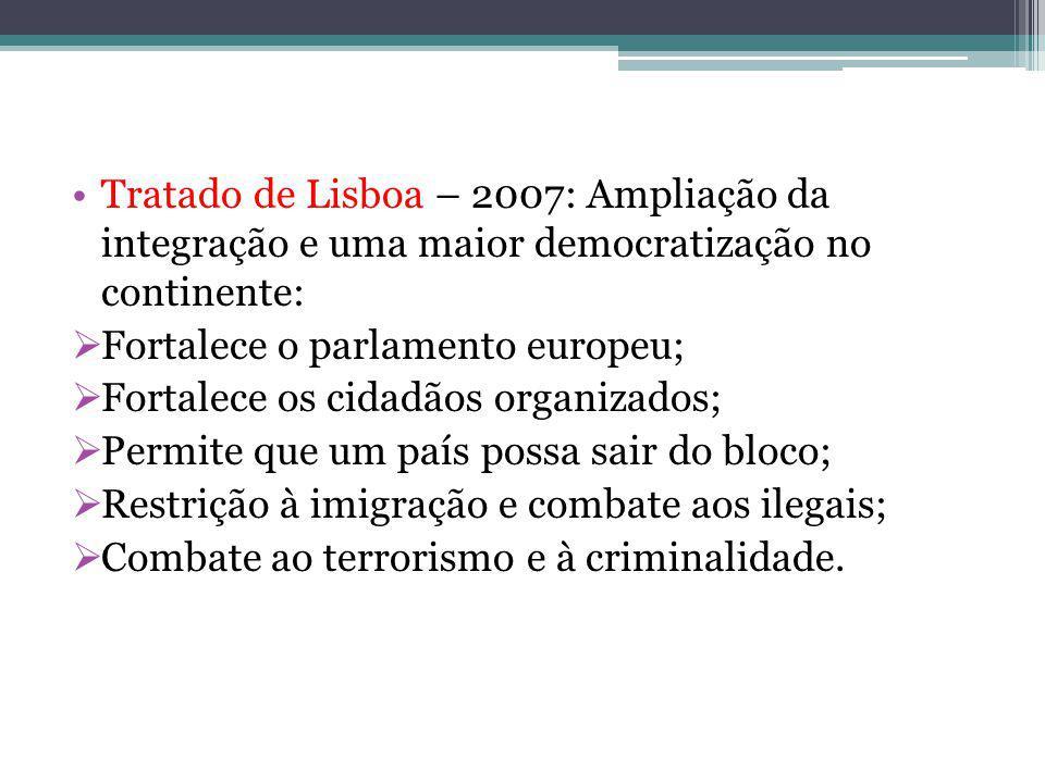 Tratado de Lisboa – 2007: Ampliação da integração e uma maior democratização no continente: Fortalece o parlamento europeu; Fortalece os cidadãos organizados; Permite que um país possa sair do bloco; Restrição à imigração e combate aos ilegais; Combate ao terrorismo e à criminalidade.