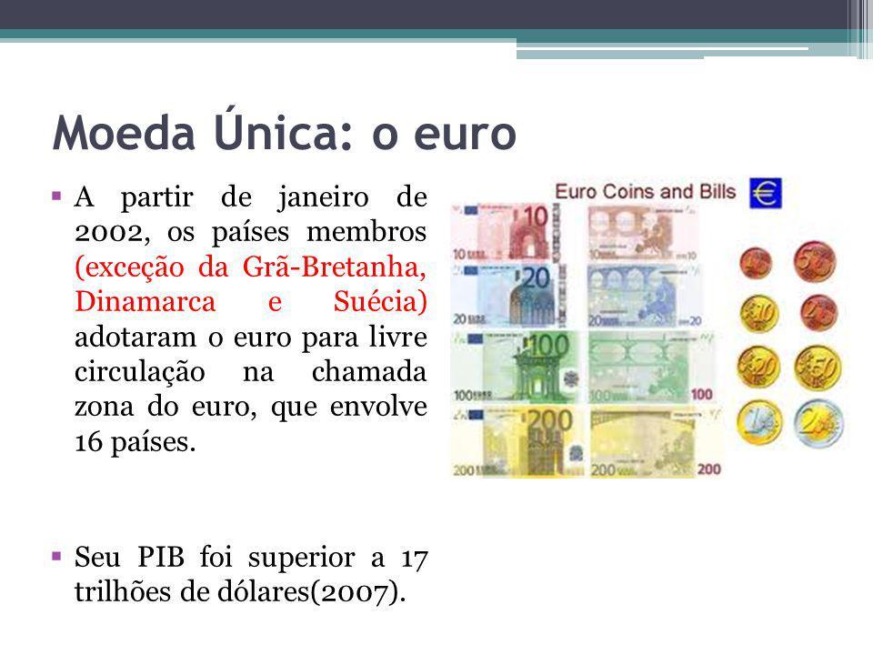 Moeda Única: o euro A partir de janeiro de 2002, os países membros (exceção da Grã-Bretanha, Dinamarca e Suécia) adotaram o euro para livre circulação na chamada zona do euro, que envolve 16 países.