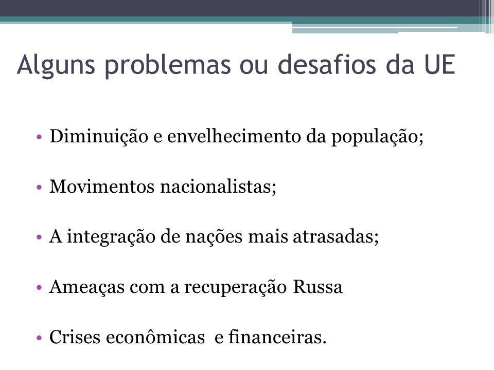 Alguns problemas ou desafios da UE Diminuição e envelhecimento da população; Movimentos nacionalistas; A integração de nações mais atrasadas; Ameaças com a recuperação Russa Crises econômicas e financeiras.