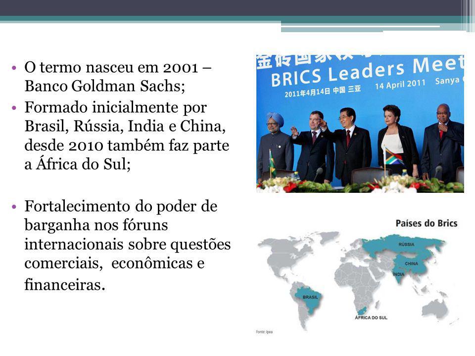 O termo nasceu em 2001 – Banco Goldman Sachs; Formado inicialmente por Brasil, Rússia, India e China, desde 2010 também faz parte a África do Sul; Fortalecimento do poder de barganha nos fóruns internacionais sobre questões comerciais, econômicas e financeiras.