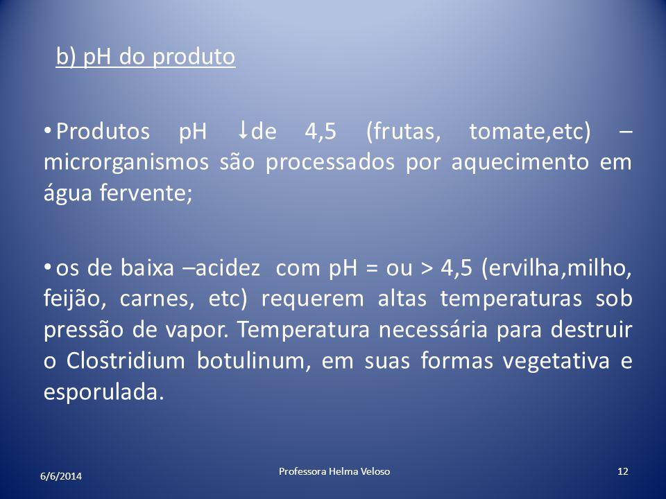 b) pH do produto Produtos pH de 4,5 (frutas, tomate,etc) – microrganismos são processados por aquecimento em água fervente; os de baixa –acidez com pH