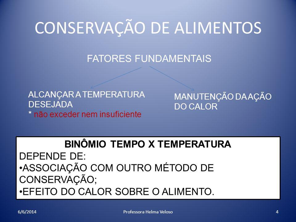 CONSERVAÇÃO DE ALIMENTOS FATORES FUNDAMENTAIS ALCANÇAR A TEMPERATURA DESEJADA * não exceder nem insuficiente MANUTENÇÃO DA AÇÃO DO CALOR BINÔMIO TEMPO