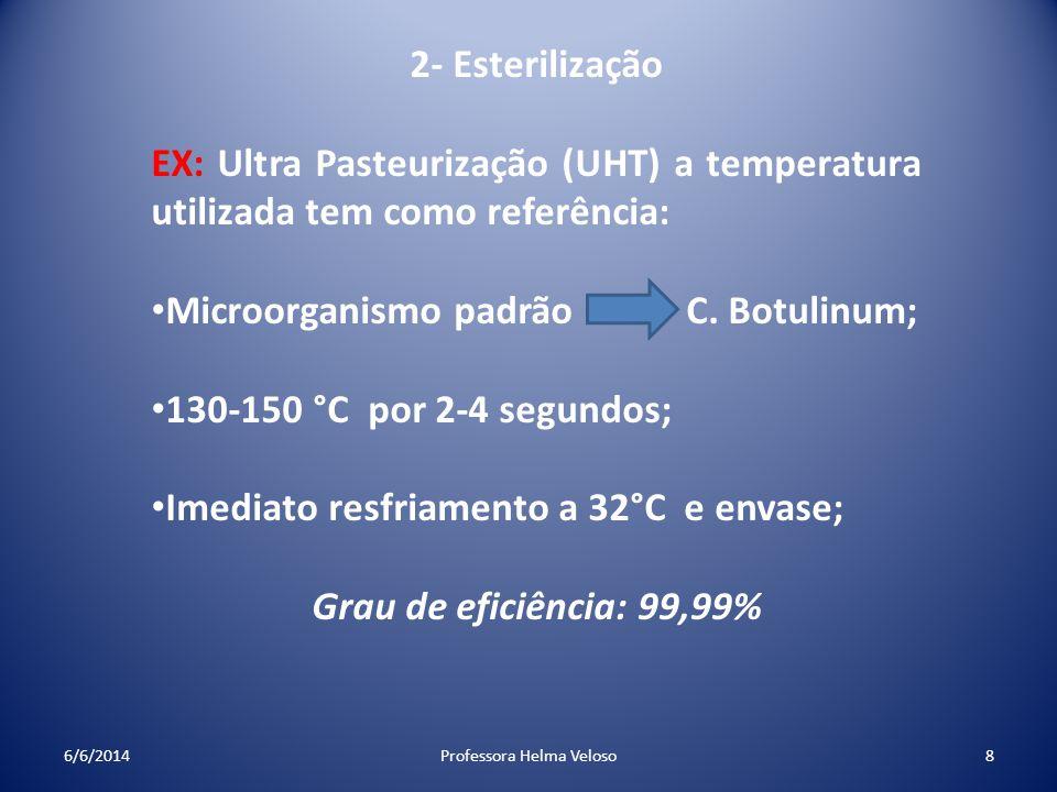 2- Esterilização EX: Ultra Pasteurização (UHT) a temperatura utilizada tem como referência: Microorganismo padrão C. Botulinum; 130-150 °C por 2-4 seg