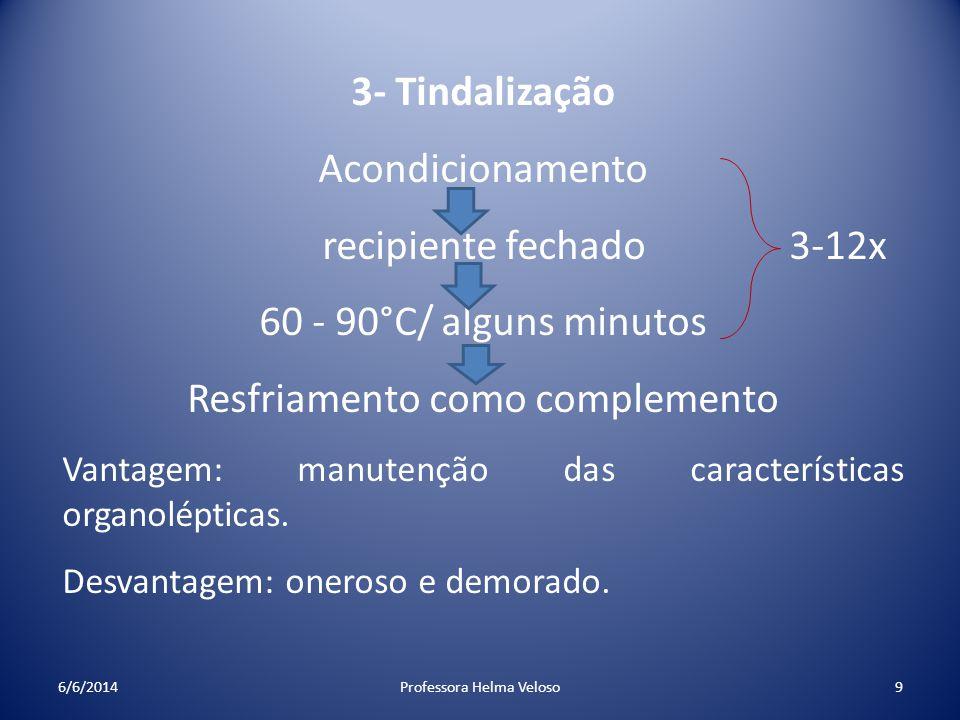 3- Tindalização Acondicionamento recipiente fechado 3-12x 60 - 90°C/ alguns minutos Resfriamento como complemento Vantagem: manutenção das característ