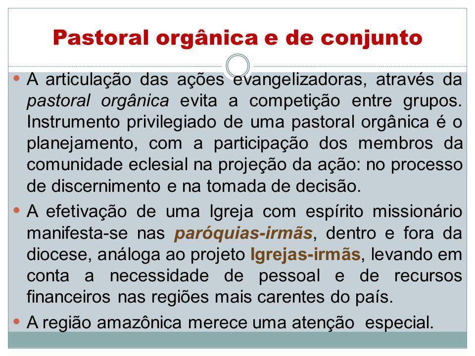 Pastoral orgânica e de conjunto A articulação das ações evangelizadoras, através da pastoral orgânica evita a competição entre grupos.