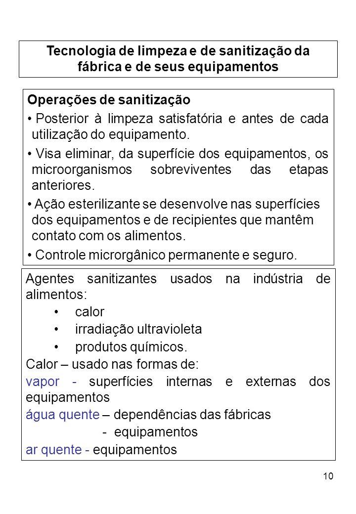 10 Tecnologia de limpeza e de sanitização da fábrica e de seus equipamentos Operações de sanitização Posterior à limpeza satisfatória e antes de cada utilização do equipamento.