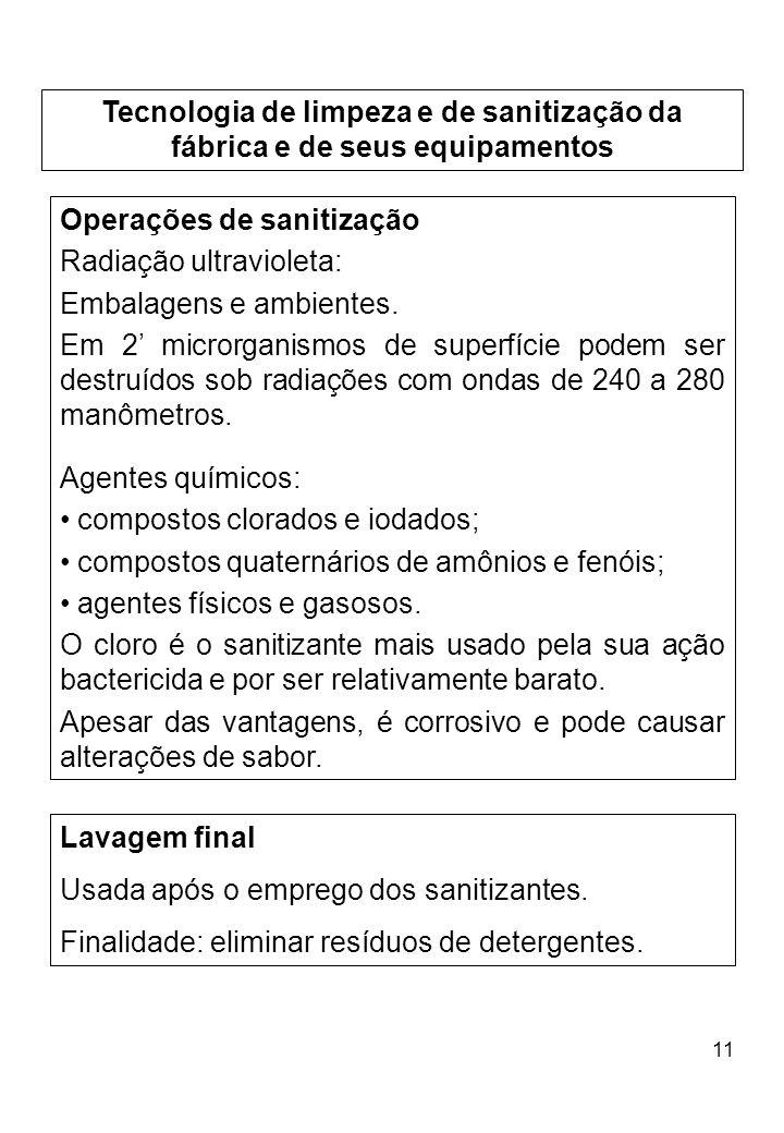 11 Tecnologia de limpeza e de sanitização da fábrica e de seus equipamentos Operações de sanitização Radiação ultravioleta: Embalagens e ambientes. Em