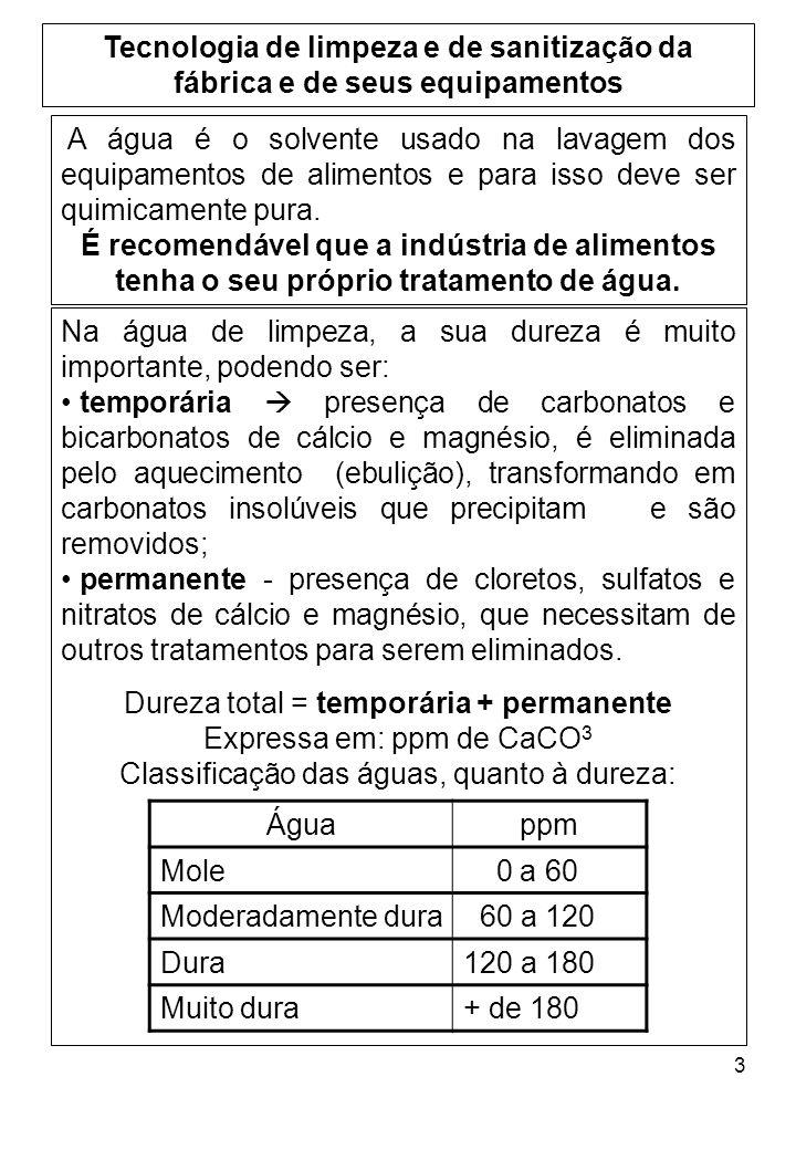 3 Tecnologia de limpeza e de sanitização da fábrica e de seus equipamentos Na água de limpeza, a sua dureza é muito importante, podendo ser: temporári