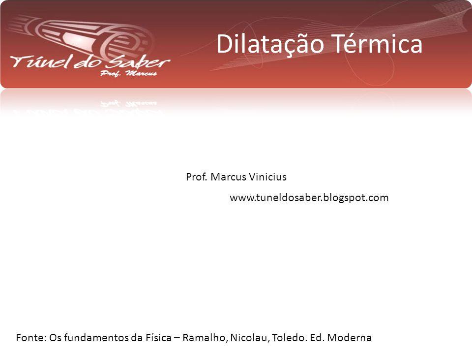 Dilatação Térmica Prof. Marcus Vinicius Fonte: Os fundamentos da Física – Ramalho, Nicolau, Toledo. Ed. Moderna www.tuneldosaber.blogspot.com