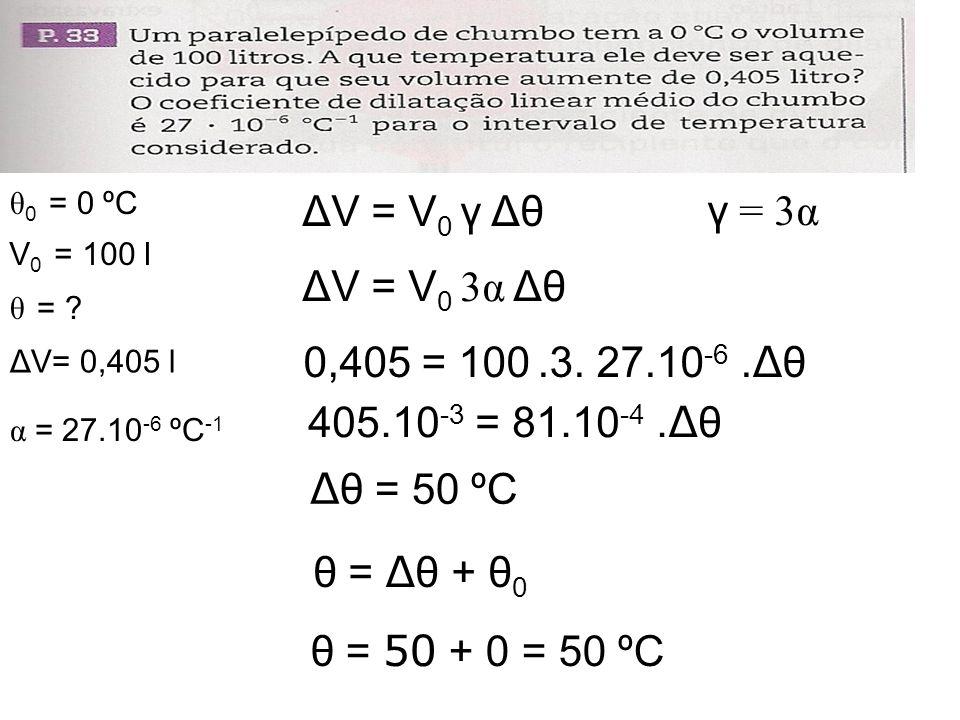 ΔV = V 0 γ Δθ ΔV = V 0 3α Δθ 0,405 = 100.3. 27.10 -6. Δ θ θ = Δ θ + θ 0 θ = 50 + 0 = 50 ºC Δ θ = 50 ºC θ 0 = 0 ºC α = 27.10 -6 ºC -1 V 0 = 100 l θ = ?