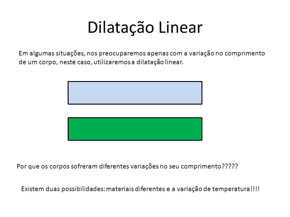 Dilatação Linear Em algumas situações, nos preocuparemos apenas com a variação no comprimento de um corpo, neste caso, utilizaremos a dilatação linear