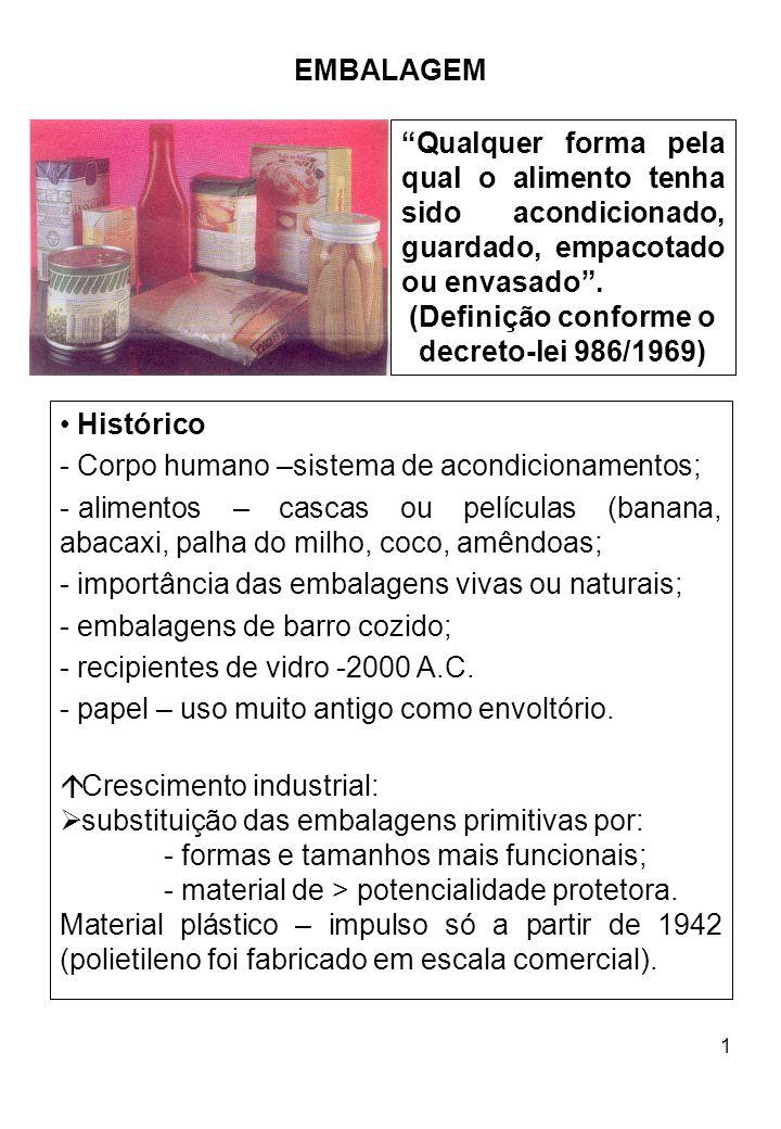2 Importância das embalagens: atendem aos interesses do: consumidor – cumprem metas técnicas; produtor – veículo de comunicação e divulgação do produto.