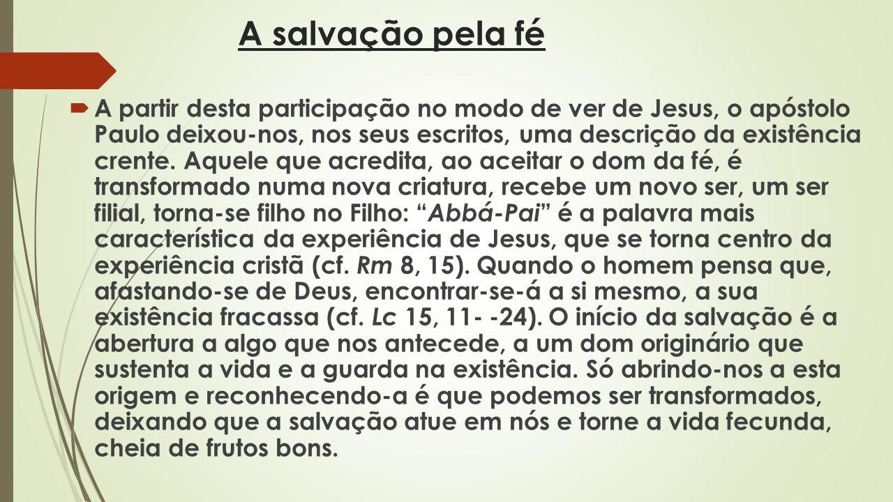 A salvação pela fé A partir desta participação no modo de ver de Jesus, o apóstolo Paulo deixou-nos, nos seus escritos, uma descrição da existência cr