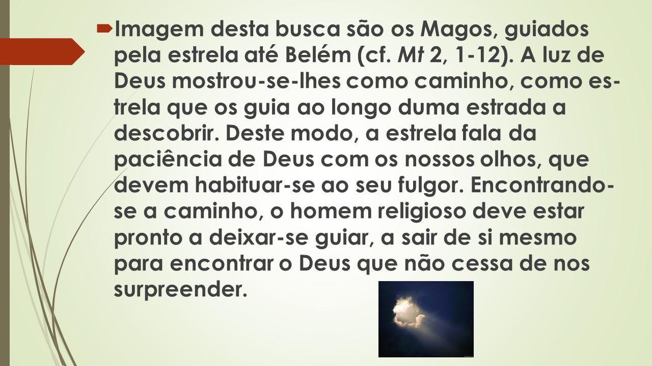 Imagem desta busca são os Magos, guiados pela estrela até Belém (cf. Mt 2, 1-12). A luz de Deus mostrou-se-lhes como caminho, como es trela que os gu