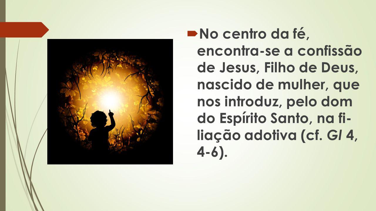No centro da fé, encontra-se a confissão de Jesus, Filho de Deus, nascido de mulher, que nos introduz, pelo dom do Espírito Santo, na fi liação adoti