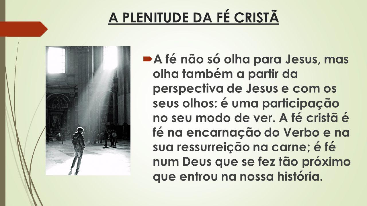 A PLENITUDE DA FÉ CRISTÃ A fé não só olha para Jesus, mas olha também a partir da perspectiva de Jesus e com os seus olhos: é uma participação no seu