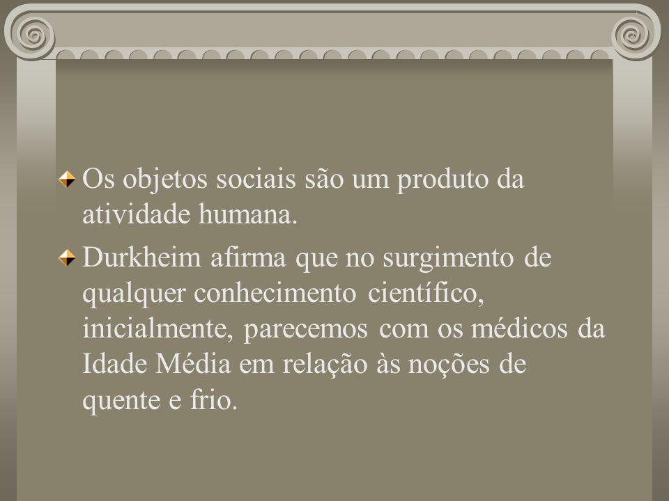 Os objetos sociais são um produto da atividade humana. Durkheim afirma que no surgimento de qualquer conhecimento científico, inicialmente, parecemos