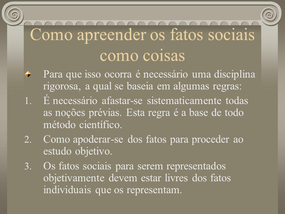 Como apreender os fatos sociais como coisas Para que isso ocorra é necessário uma disciplina rigorosa, a qual se baseia em algumas regras: 1.