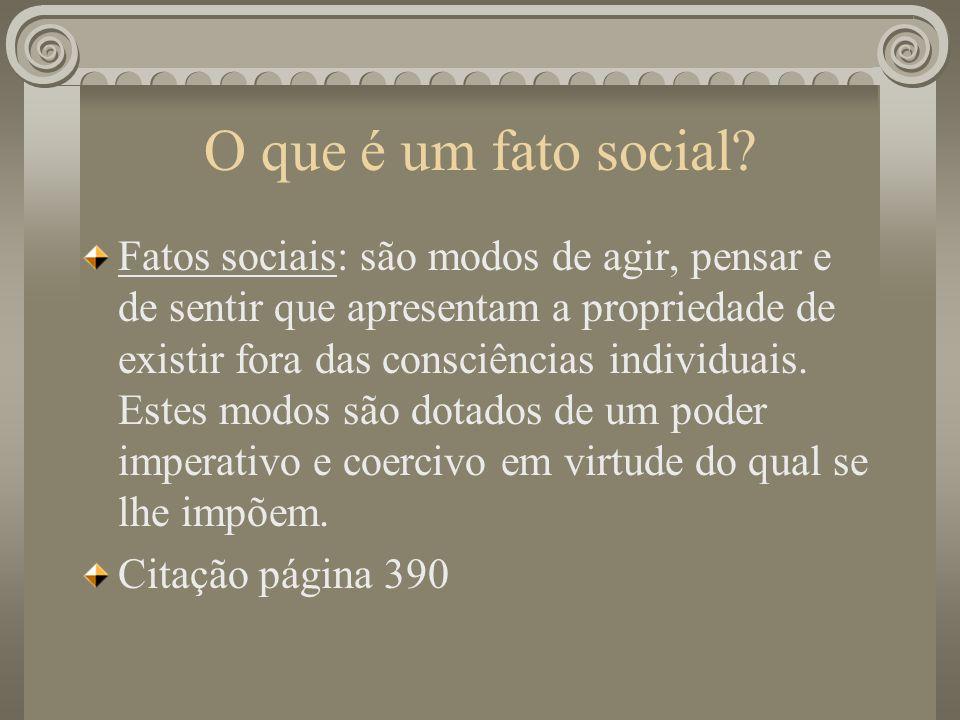 O que é um fato social? Fatos sociais: são modos de agir, pensar e de sentir que apresentam a propriedade de existir fora das consciências individuais