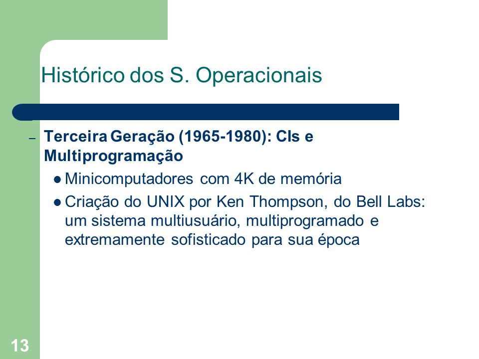 13 Histórico dos S.