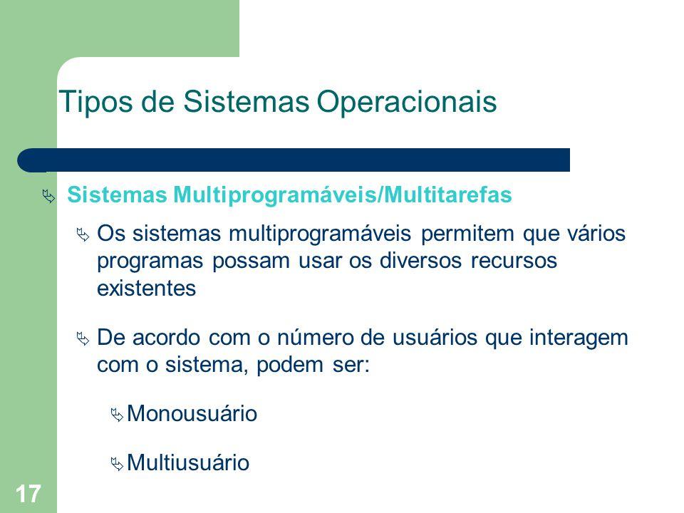 17 Tipos de Sistemas Operacionais Sistemas Multiprogramáveis/Multitarefas Os sistemas multiprogramáveis permitem que vários programas possam usar os diversos recursos existentes De acordo com o número de usuários que interagem com o sistema, podem ser: Monousuário Multiusuário