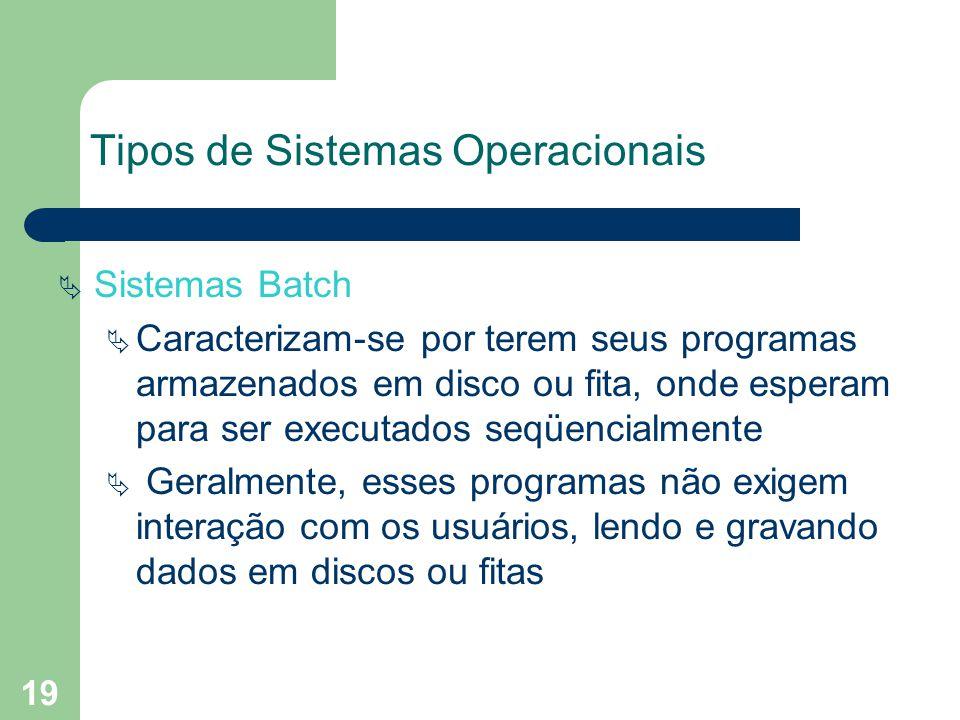 19 Tipos de Sistemas Operacionais Sistemas Batch Caracterizam-se por terem seus programas armazenados em disco ou fita, onde esperam para ser executados seqüencialmente Geralmente, esses programas não exigem interação com os usuários, lendo e gravando dados em discos ou fitas