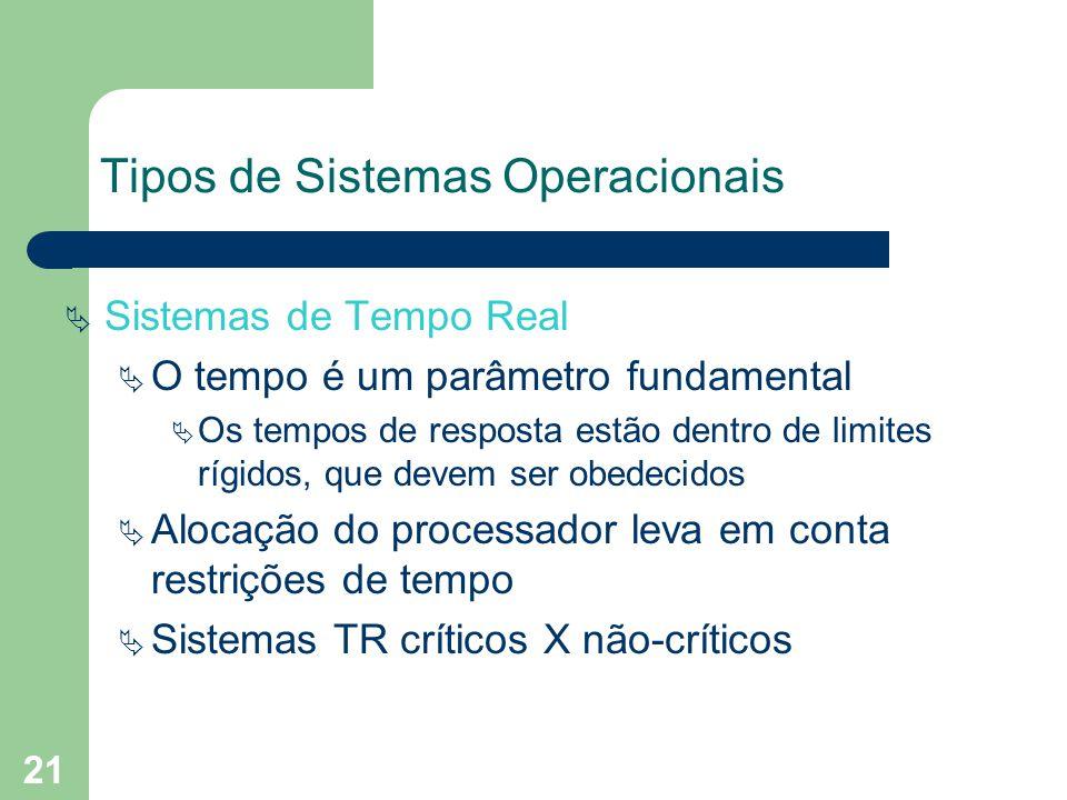21 Tipos de Sistemas Operacionais Sistemas de Tempo Real O tempo é um parâmetro fundamental Os tempos de resposta estão dentro de limites rígidos, que devem ser obedecidos Alocação do processador leva em conta restrições de tempo Sistemas TR críticos X não-críticos