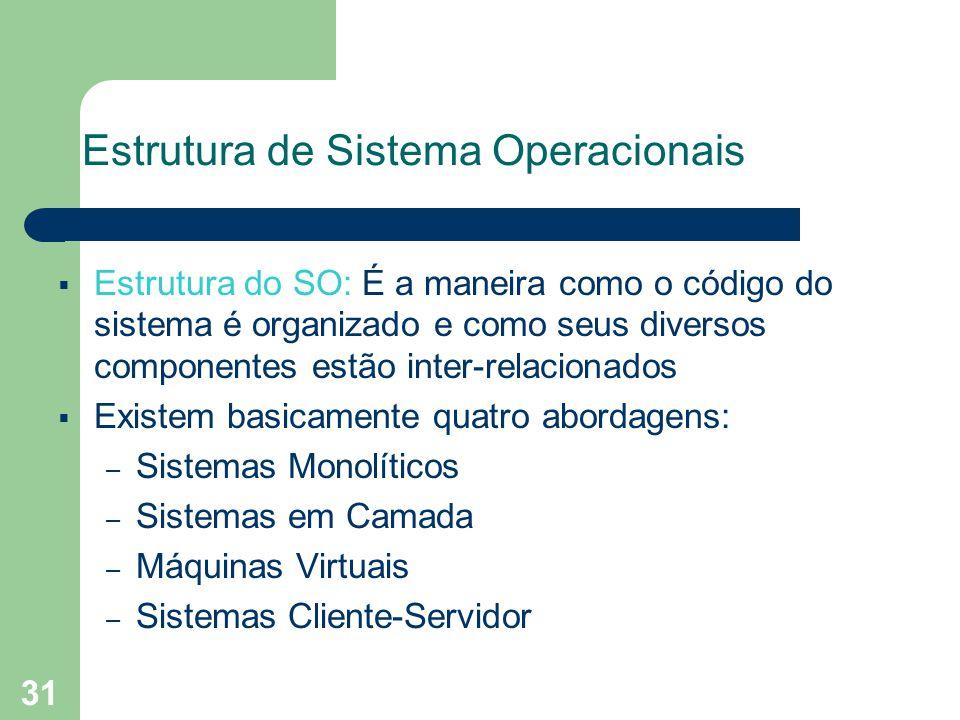 31 Estrutura de Sistema Operacionais Estrutura do SO: É a maneira como o código do sistema é organizado e como seus diversos componentes estão inter-relacionados Existem basicamente quatro abordagens: – Sistemas Monolíticos – Sistemas em Camada – Máquinas Virtuais – Sistemas Cliente-Servidor