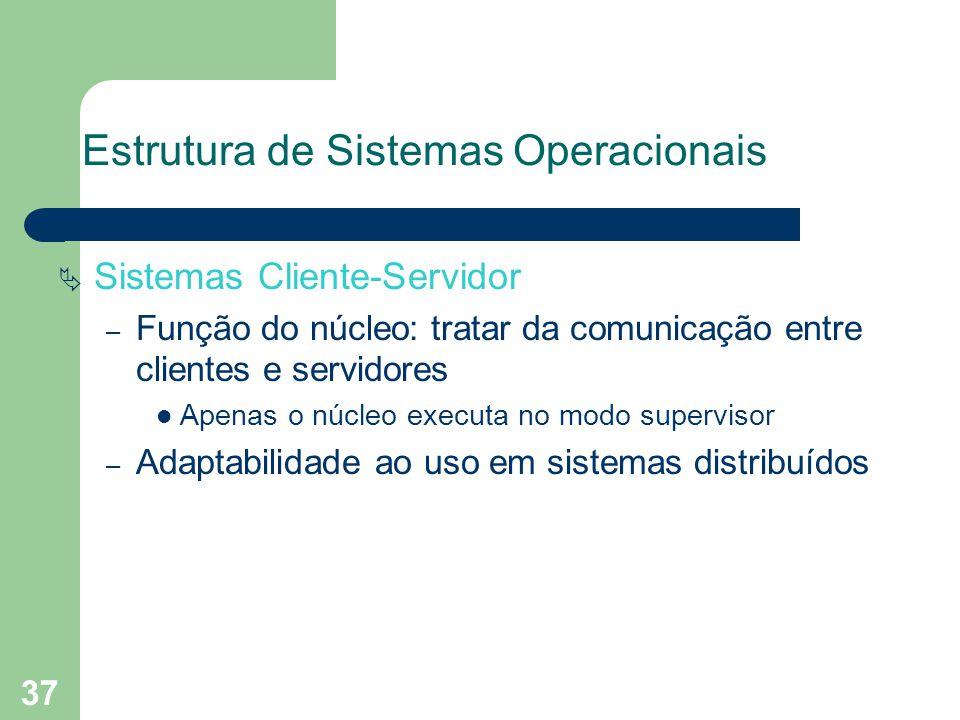 37 Estrutura de Sistemas Operacionais Sistemas Cliente-Servidor – Função do núcleo: tratar da comunicação entre clientes e servidores Apenas o núcleo executa no modo supervisor – Adaptabilidade ao uso em sistemas distribuídos